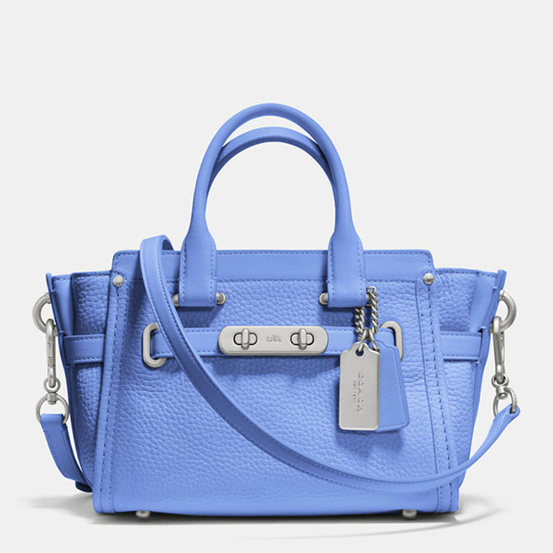 Coach Swagger Carryall 20 In Pebble Leather Blue