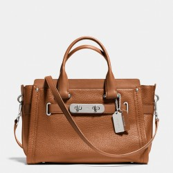 Coach Swagger Carryall 20 In Pebble Leather Brown