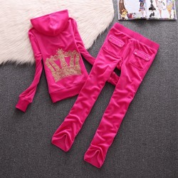 Juicy Couture Crown Velour Tracksuit 610 2pcs Women Suits Rose