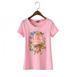 Juicy Couture Floral Tiger Graphic Tee T011 Women T-Shirt Pink