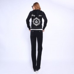 Juicy Couture FW2017 Velour Tracksuit 2pcs Studded Juicy Logo Crown Women Suits Black