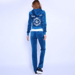 Juicy Couture FW2017 Velour Tracksuit 2pcs Studded Juicy Logo Crown Women Suits Blue