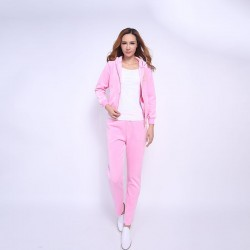 Juicy Couture FW2017 Velour Tracksuit 2pcs Studded Paddy Juicy Logo Women Suits Cherry