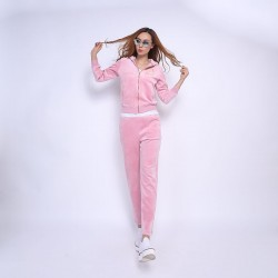 Juicy Couture FW2017 Velour Tracksuit 2pcs Studded Paddy Juicy Logo Women Suits Pink