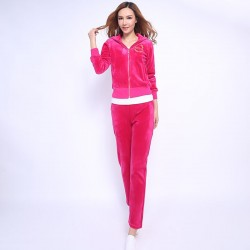 Juicy Couture FW2017 Velour Tracksuit 2pcs Studded Paddy Juicy Logo Women Suits Rose