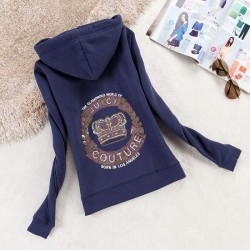 Juicy Couture Logo Crown Velour Jacket 2198 Women Hoody Navy Blue