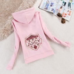 Juicy Couture Logo Sequin Velour Jacket 2199 Women Hoody Pink