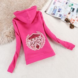 Juicy Couture Logo Sequin Velour Jacket 2199 Women Hoody Rose