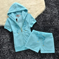 Juicy Couture Original Velour Tracksuit 607 2pcs Women Suits Sky Blue
