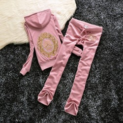 Juicy Couture Sequin Crown Velour Tracksuit 601 2pcs Women Suits Light Pink