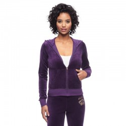 Juicy Couture Sequin Crown Velour Tracksuit 601 2pcs Women Suits Purple