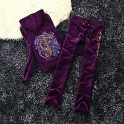 Juicy Couture Sequin Logo Velour Tracksuit 603 2pcs Women Suits Purple