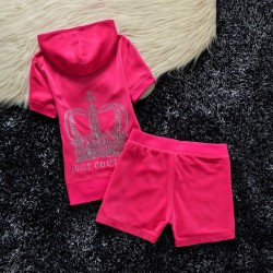 Juicy Couture Studded Crown Velour Tracksuit 609 2pcs Women Suits Rose