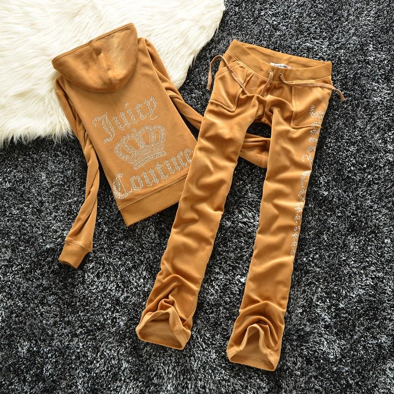 Juicy Couture Studded Logo Crown Velour Tracksuit 605 2pcs Women Suits Brown