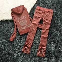 Juicy Couture Studded Logo Crown Velour Tracksuit 605 2pcs Women Suits Coffee Red
