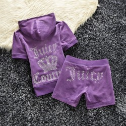 Juicy Couture Studded Logo Crown Velour Tracksuit 608 2pcs Women Suits Purple
