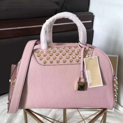 MICHAEL Michael Kors Austin Medium Studded Leather Bowling Satchel Pink
