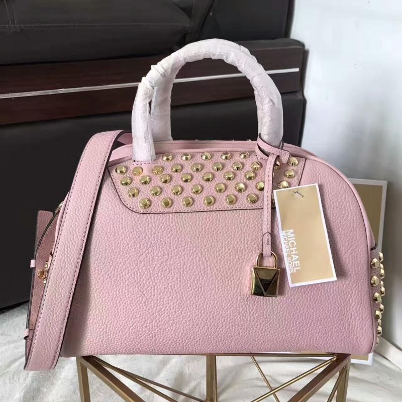 MICHAEL Michael Kors Austin Medium Studded Leather Bowling Satchel Pink