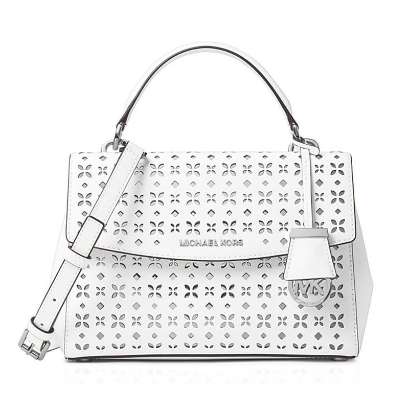 MICHAEL Michael Kors Ava Small Perforated-Leather Satchel White