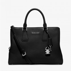 MICHAEL Michael Kors Camille Medium Leather Satchel Black