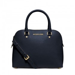 MICHAEL Michael Kors Cindy Saffiano Leather Satchel Navy Blue
