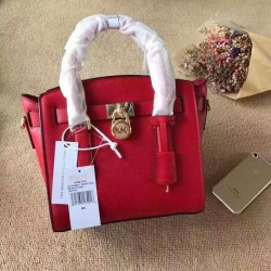 MICHAEL Michael Kors Hamilton Small Leather Satchel Red