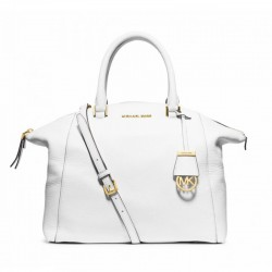 MICHAEL Michael Kors Riley Pebbled-Leather Satchel White