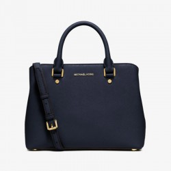 MICHAEL Michael Kors Savannah Medium Saffiano Leather Satchel Navy Blue