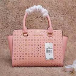 MICHAEL Michael Kors Selma Medium Perforated-Leather Satchel Pink