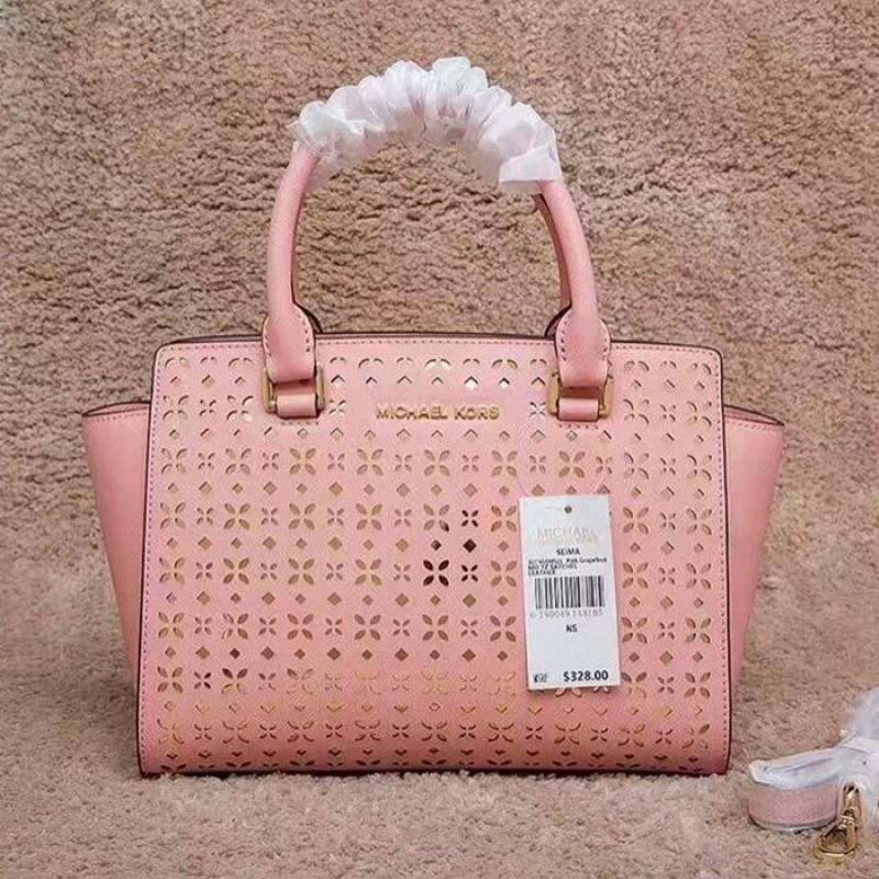 MICHAEL Michael Kors Selma Medium Perforated-Leather Satchel Pink