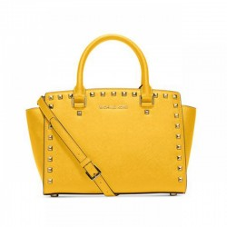 MICHAEL Michael Kors Selma Studded Saffiano Leather Satchel Yellow