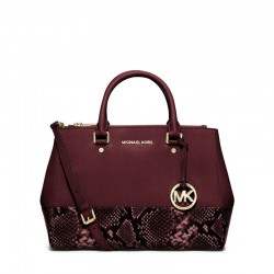 MICHAEL Michael Kors Sutton Medium Embossed-Leather Satchel Burgundy