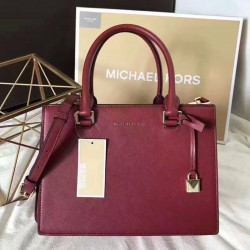 MICHAEL Michael Kors Sutton Small Saffiano Leather Satchel Red