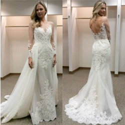 Designer Hochzeitskleider Mit Ärmel A Linie Spitze Brautkleid