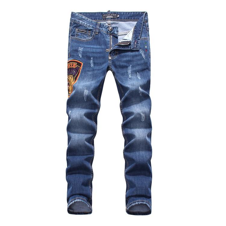 Philipp Plein SS2017 Mens Long Jeans Bermuda Tiger Head Navy