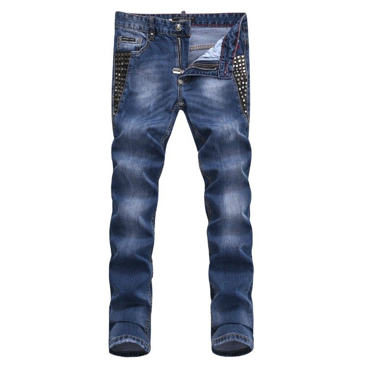 Philipp Plein SS2017 Mens Long Jeans Straight Rivets Cool Navy