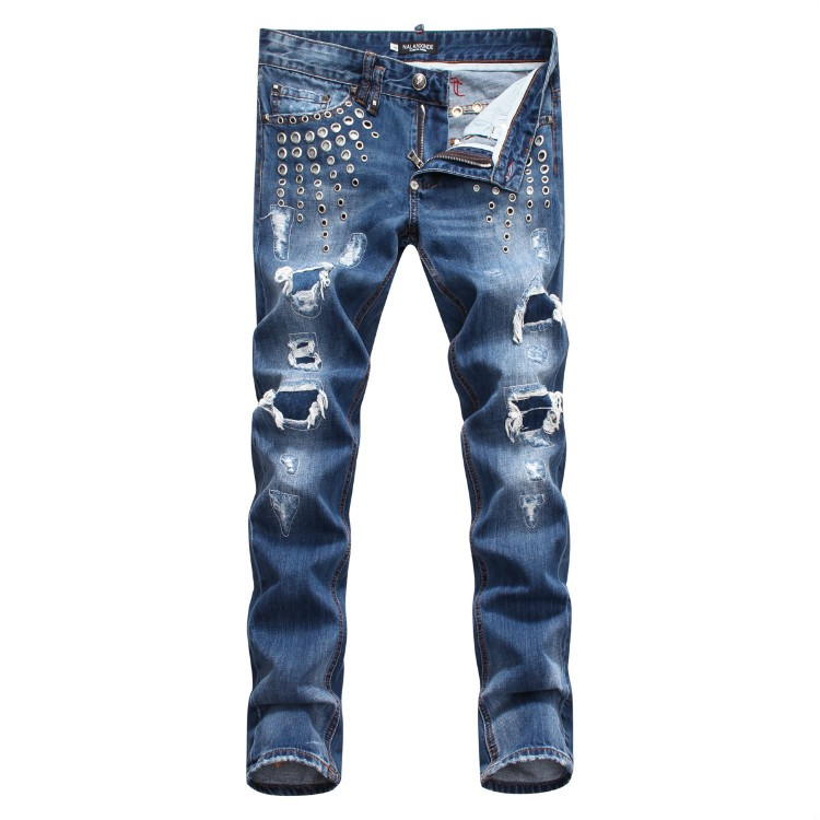 Philipp Plein SS2017 Mens Long Jeans Straight Rivets Holes Navy
