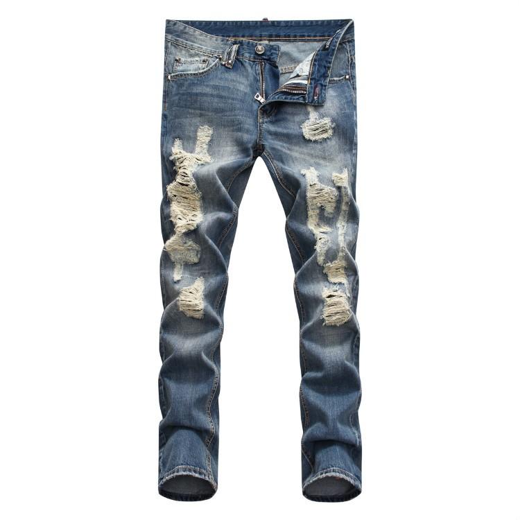 Philipp Plein SS2017 Mens Long Jeans Straight Scrape Holes Navy