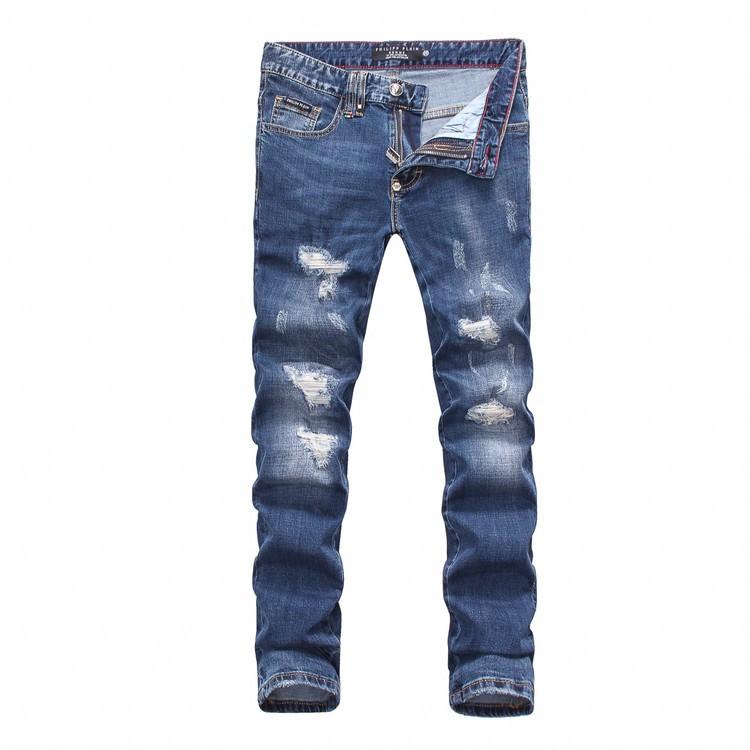 Philipp Plein SS2017 Mens Long Jeans Super Straight Holes Navy