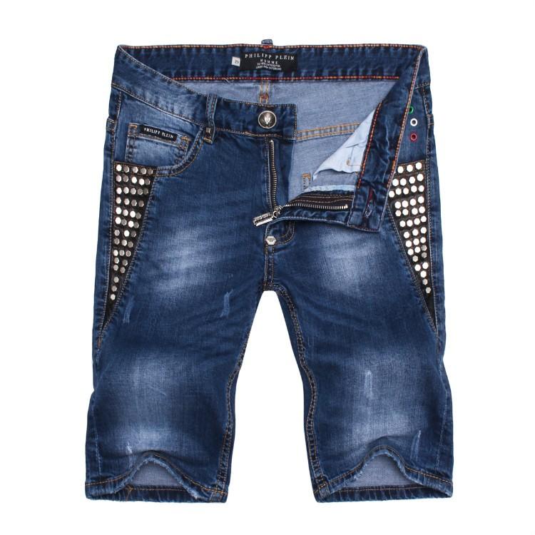Philipp Plein SS2017 Mens Short Jeans Straight Rivets Cool Navy