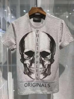 Philipp Plein SS2017 Mens T-Shirt Boston Skull Grey