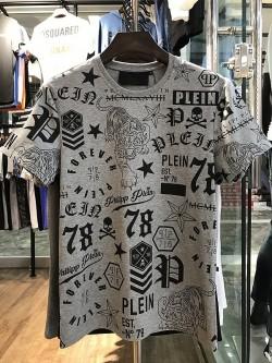 Philipp Plein SS2017 Mens T-Shirt Multiple Patterns Grey