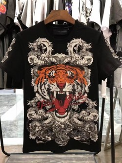 Philipp Plein SS2017 Mens T-Shirt Tiger Consistent Black