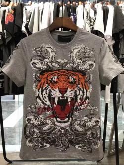 Philipp Plein SS2017 Mens T-Shirt Tiger Consistent Grey