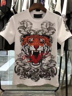 Philipp Plein SS2017 Mens T-Shirt Tiger Consistent White