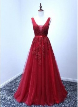 A-line Puffy V-Neck Elegant Lace-Appliques Backless Long Evening Dresses_Cheap Dresses In Stock_ ...