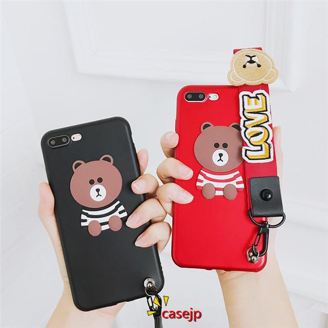 商品名: iPhone8 ソフトケース iphoneX ライン ブラウンクマ キュート line 立体的な熊の飾り 乙女心 i ...