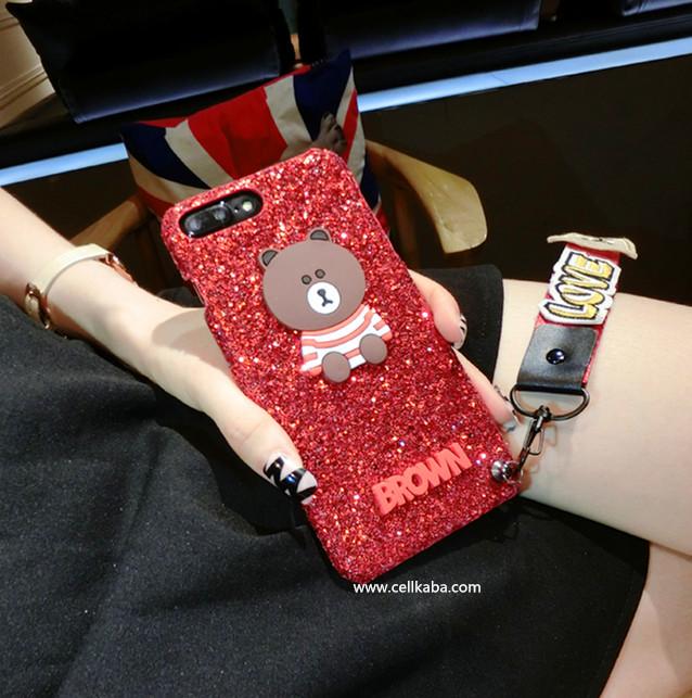 ORIGINAL アイフォン8プラスケース キラキラ 熊柄 iphone8可愛いケース 芸能人愛用