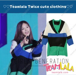 Cute Korean Group TWICE Zwi Same Style V Neck Knit One Piece Costume