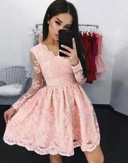 Elegante Cocktailkleider Spitze Rosa A linie Kurze Abendkleider Mit Ärmel